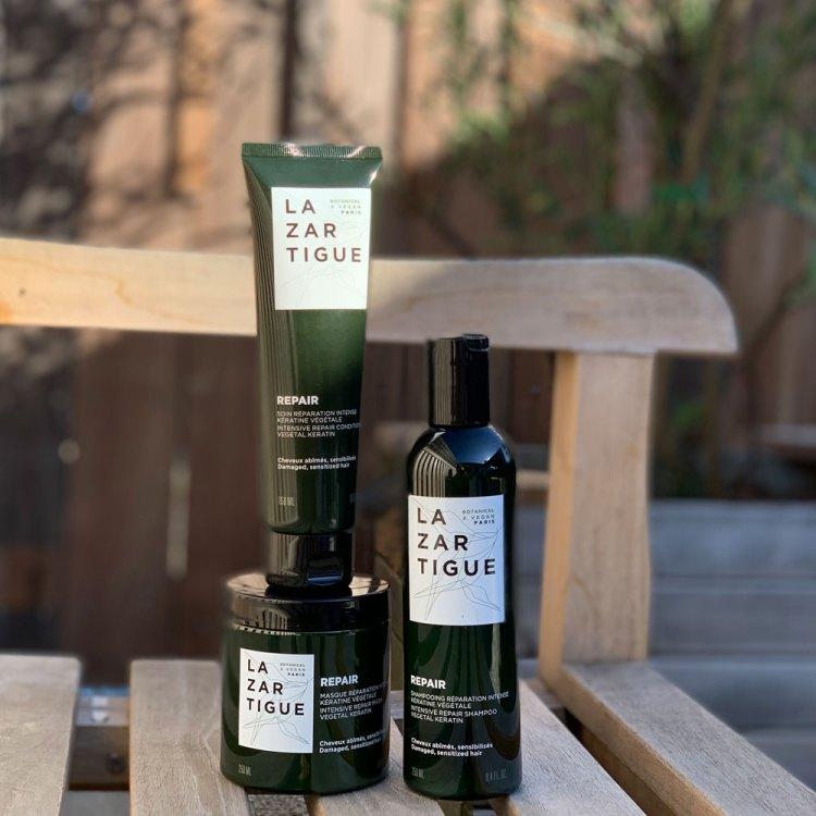 Shampooing soin et masque Repair Lazartigue mon avis sur la gamme capillaire à la kératine végétale test blog
