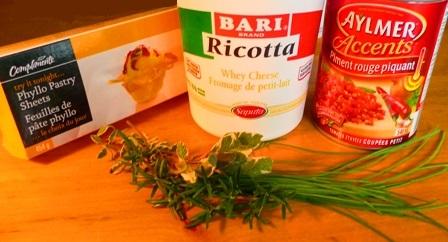 Ingredients - Pate phyllo ricotta
