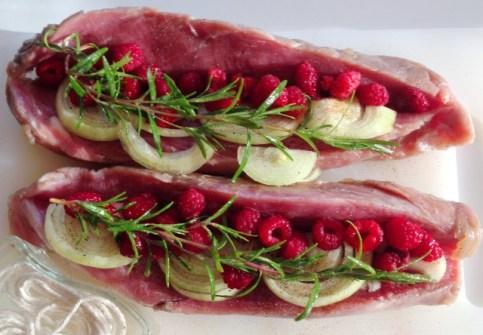 porc aux framboises - la preparation