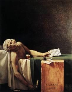 """L'assassinat de Marat, journaliste et homme politique clé de la Révolution française dans sa baignoire par Charlotte Corday. La scène, saisissante et quasi cinématographique, est inédite : un homme influent, représenté dans son plus simple appareil, gisant dans une eau rouge. (""""La mort de Marat"""", Jacques-Louis David, 1793)"""
