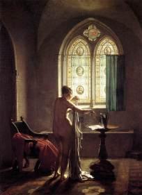 """Il n'y a pas que l'Orient qui fascine : au XIXème siècle, le Moyen-Age, époque sombre, jugée comme un retour en arrière, intrigue les artistes. Ils livrent une vision nouvelle du bain loin des ripailles bruyantes dans les bains publics et de la toilette des rois. Lumière enveloppante et travaillée, peau laiteuse, ce sont bien les canons du XIXe siècle qui sont transposés à cette époque fantasmée. (""""Le bain gothique"""", Jean-Baptiste Mallet, 1810)"""