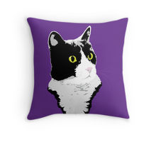 Regal Tuxedo Kitty printed on a throw pillow