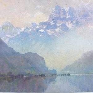 a work on paper of Lake Geneva Switzerland done by H.A. Dyer