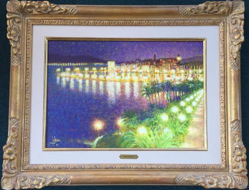 painting of Cannes France done by artist Louis Fabien for sale