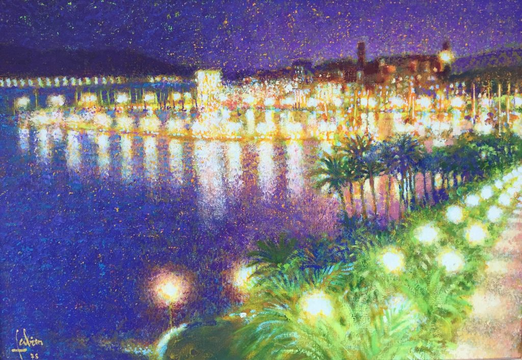traditional painting for sale done by Louis Fabien that depicts Cannes France