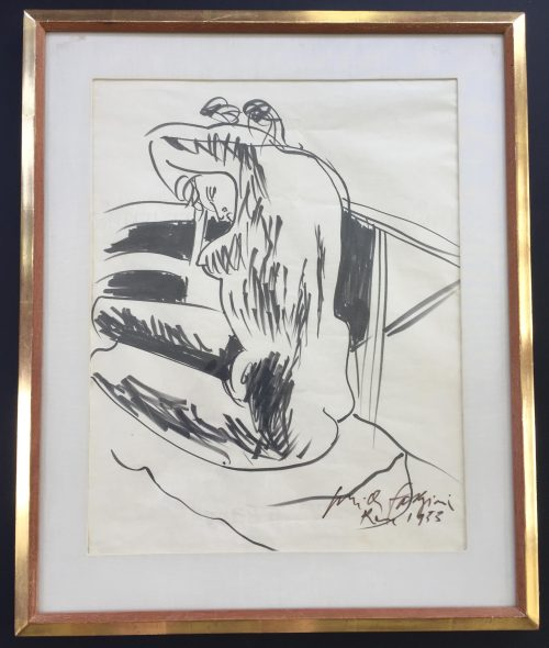 nude drawing of woman by artist Pericle Fazzini for sale