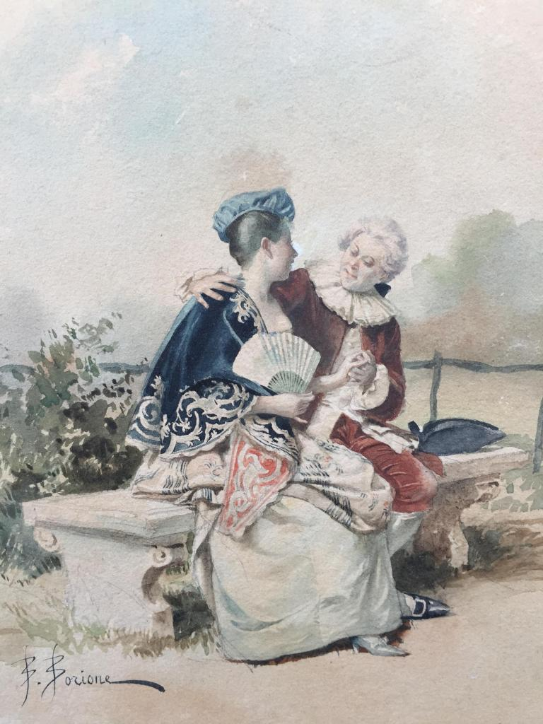 works on paper of a courting scene between a man and a woman done by artist Bernard Borione