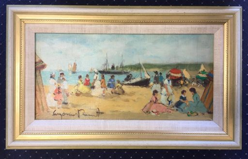 A painting of a beach scene by artist Suzanne Demarest