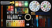 Array of the most common materials I use for painting