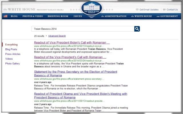 Traian Basescu dialog SUA martie 2014 White House