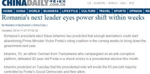 China Daily - Noul lider vizeaza schimbarea puterii din Romania, in cateva saptamani