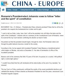 Xinhua - Presedintele ales al Romaniei, Iohannis, promite sa urmeze litera si spiritul de Constitutiei