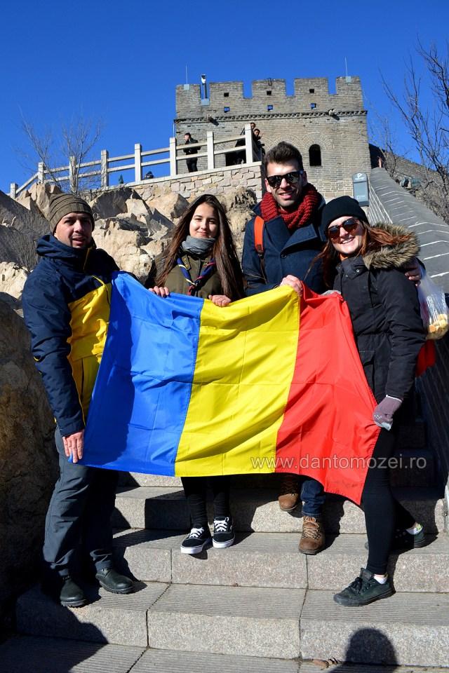 Tricolorul Romaniei la Marele Zid de 1 decembrie 2016 Da
