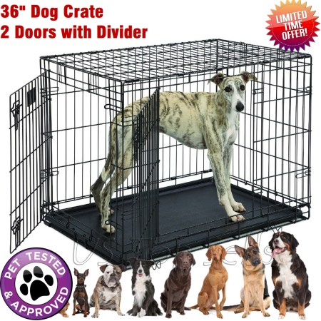 Large Dog Crate Kennel Pet Cage 36 House 2 Doors Metal Playpen W