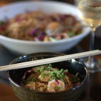 Soba noodles with spicy garlic shrimp