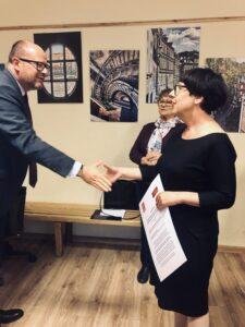 Prezydent Miasta Gdańska Paweł Adamowicz i kandydatka na prezydentkę Elżbieta Jachlewska