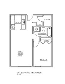 1BR Floor Plan (B)