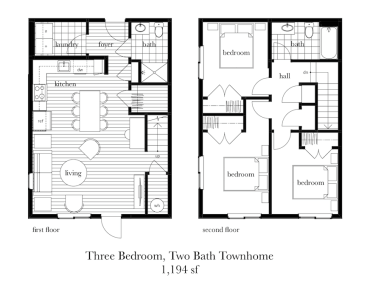 3 Bed, 2 Bath Townhome