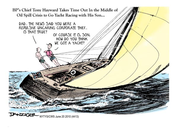 june 20 2010 hayward yacht bp oil spill political cartoon