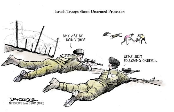 israel shooting protesters political cartoon danziger cartoons