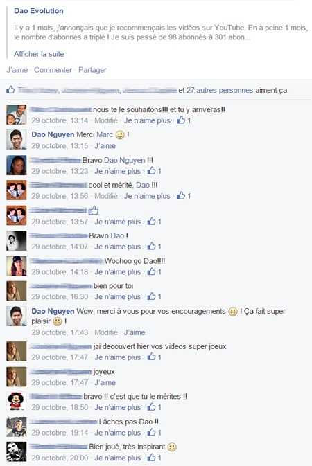 Commentaires Facebook encourageants