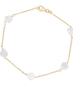 18 KARAT YELLOW GOLD, 2.17 GR. BRACELET WITH HEART MOTHER OF PEARL
