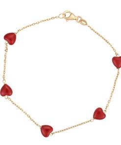 Daoro Jewelry 18 KARAT YELLOW GOLD, 2.17 GR. BRACELET WITH HEART STONES