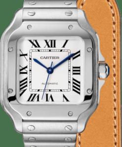 SANTOS DE CARTIER WATCH MEDIUM MODEL, AUTOMATIC, STEEL, TWO INTERCHANGEABLE STRAPS