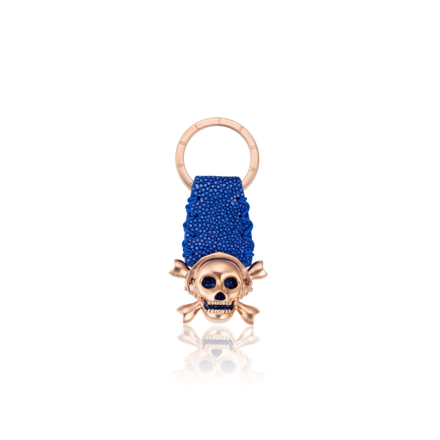 Blue stingray Keychain with Pink Gold Skull.