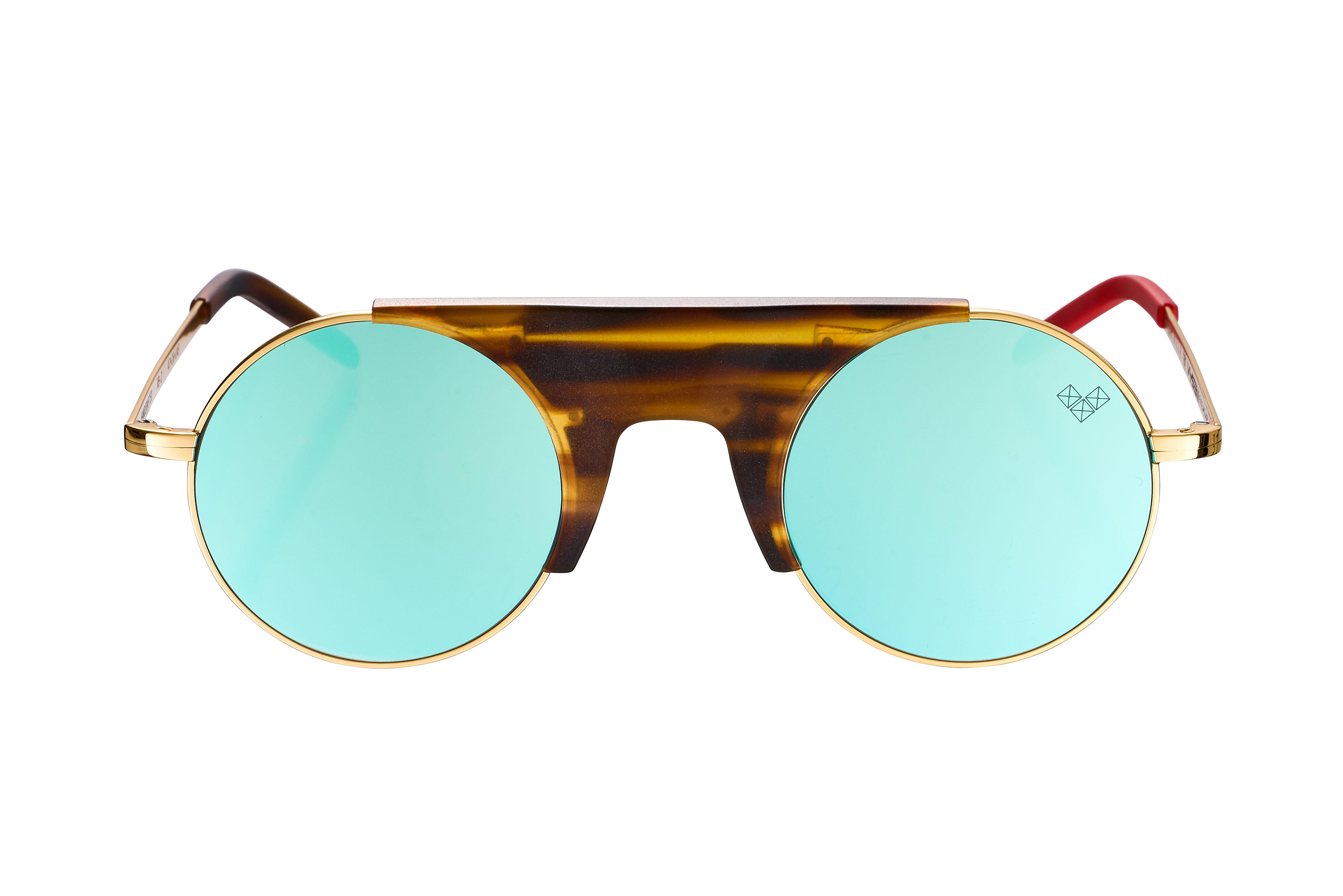 RUBI-Rb-2 - Matte Brown Wood-Patterned Center Piece - Blue Mirror Lenses
