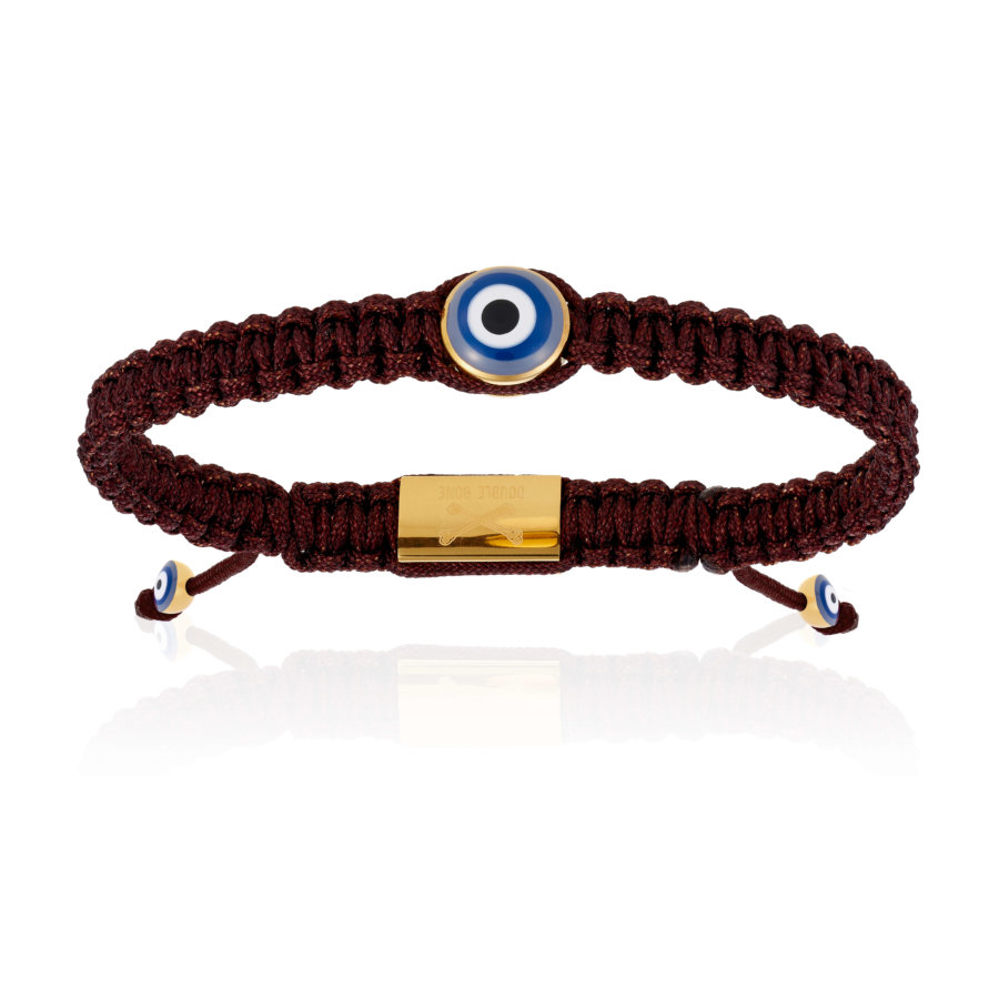 Brown Nylon bracelet with Yellow Gold Eye (Unisex)