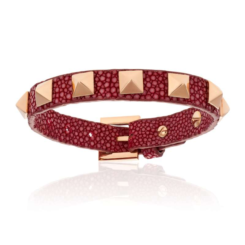 Red wine stingray bracelet with rose gold studs for woman