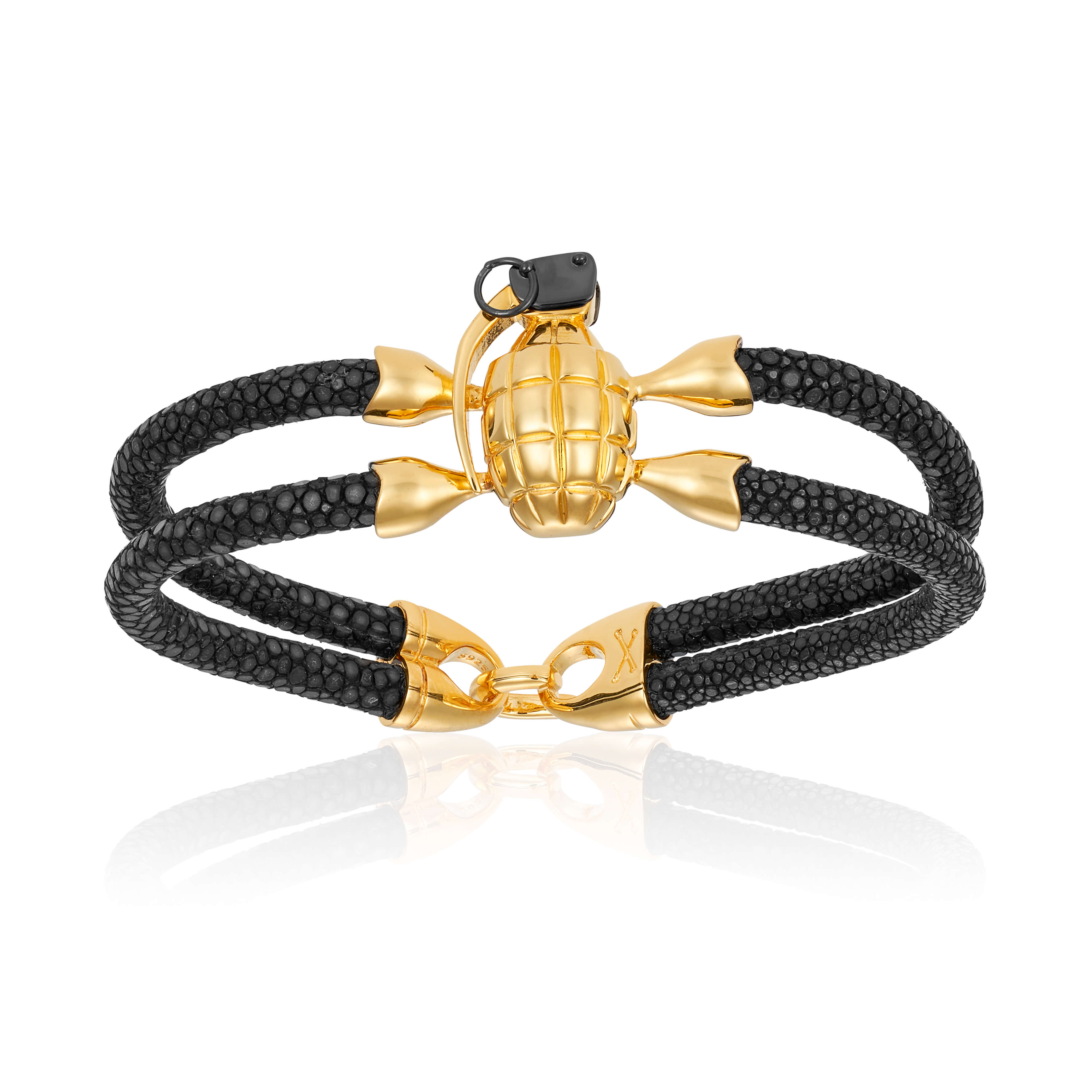 Black stingray bracelet with yellow gold grenade for man