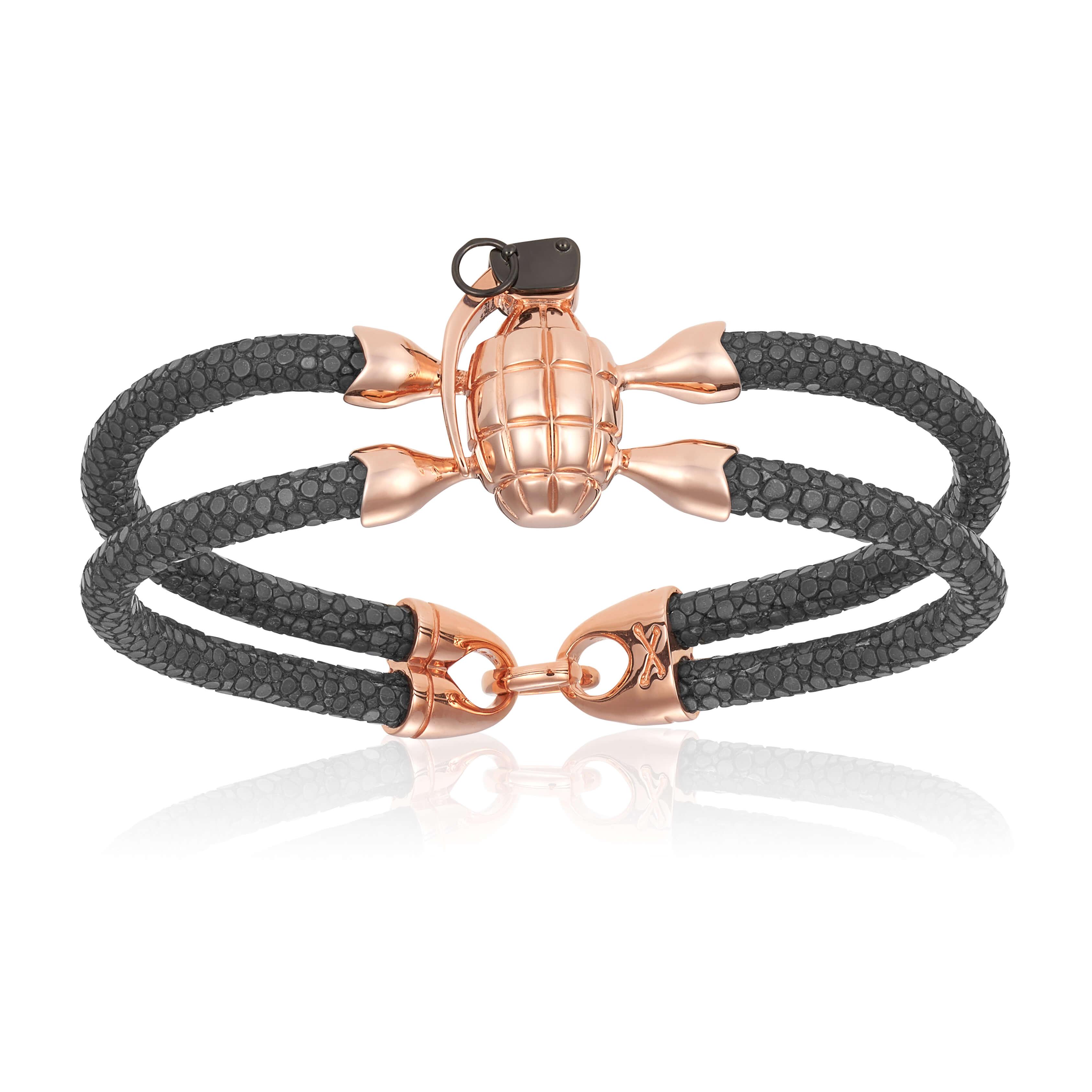 Gray stingray bracelet with rose gold grenade for man