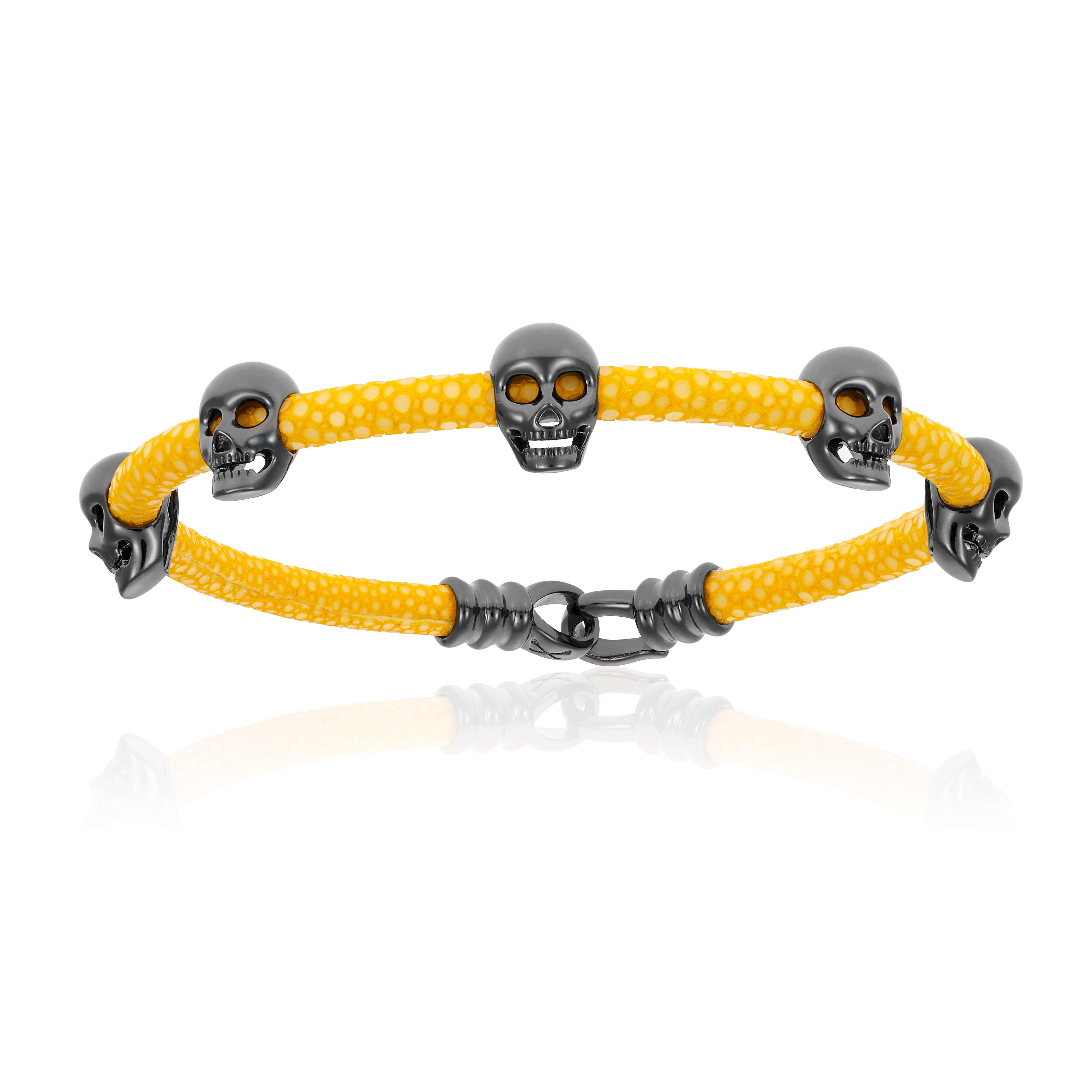 Yellow stingray bracelet with black PVD skull (Unisex)