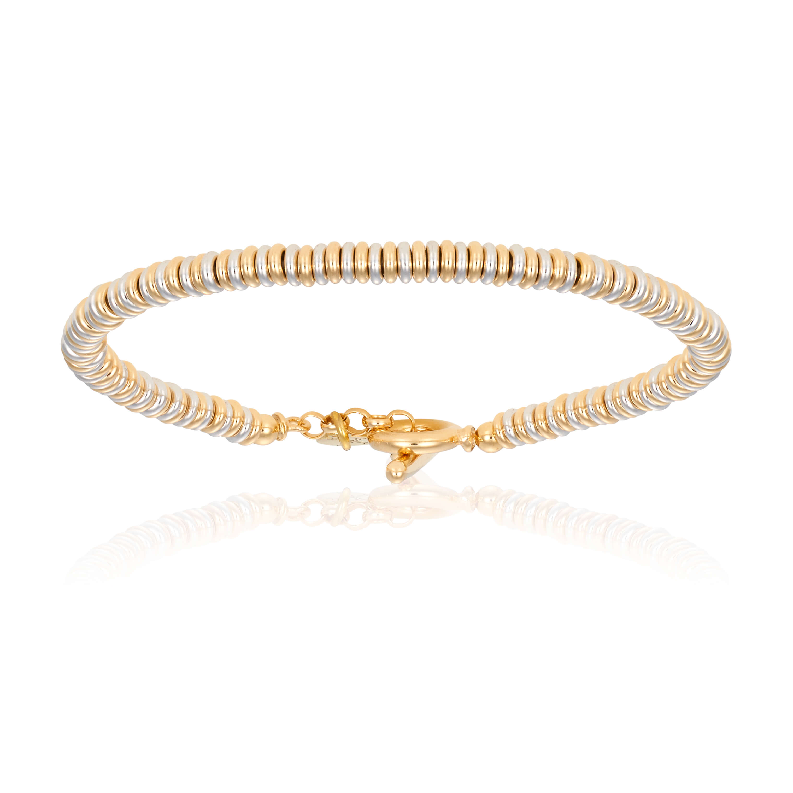 White gold bracelet with yellow gold beads (Unisex)