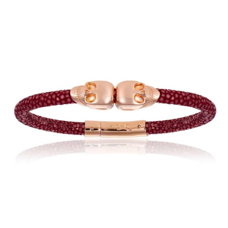 Red wine stingray bracelet with rose gold skull (Unisex)