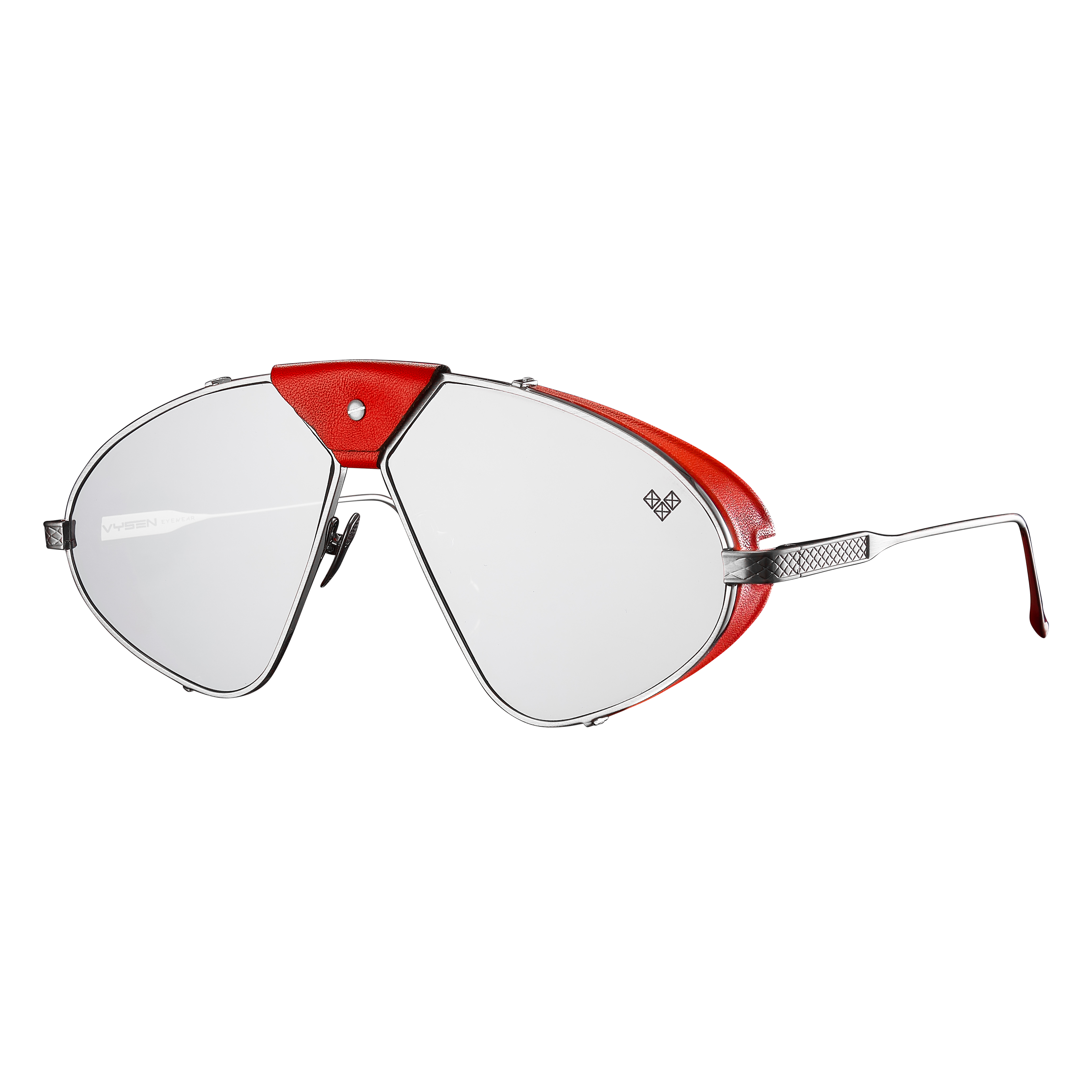 Luis Fonsi - F - 3 + Silver Frame + Silver Mirror Lenses + Red Leather