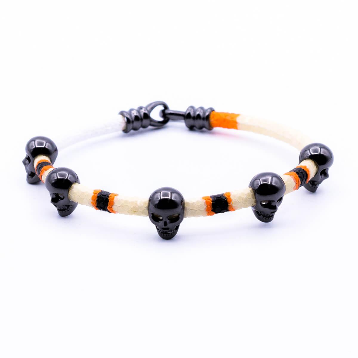 White stingray bracelet with black Multi Skull for man 6/10 size 20cm (OFF-BLACK)