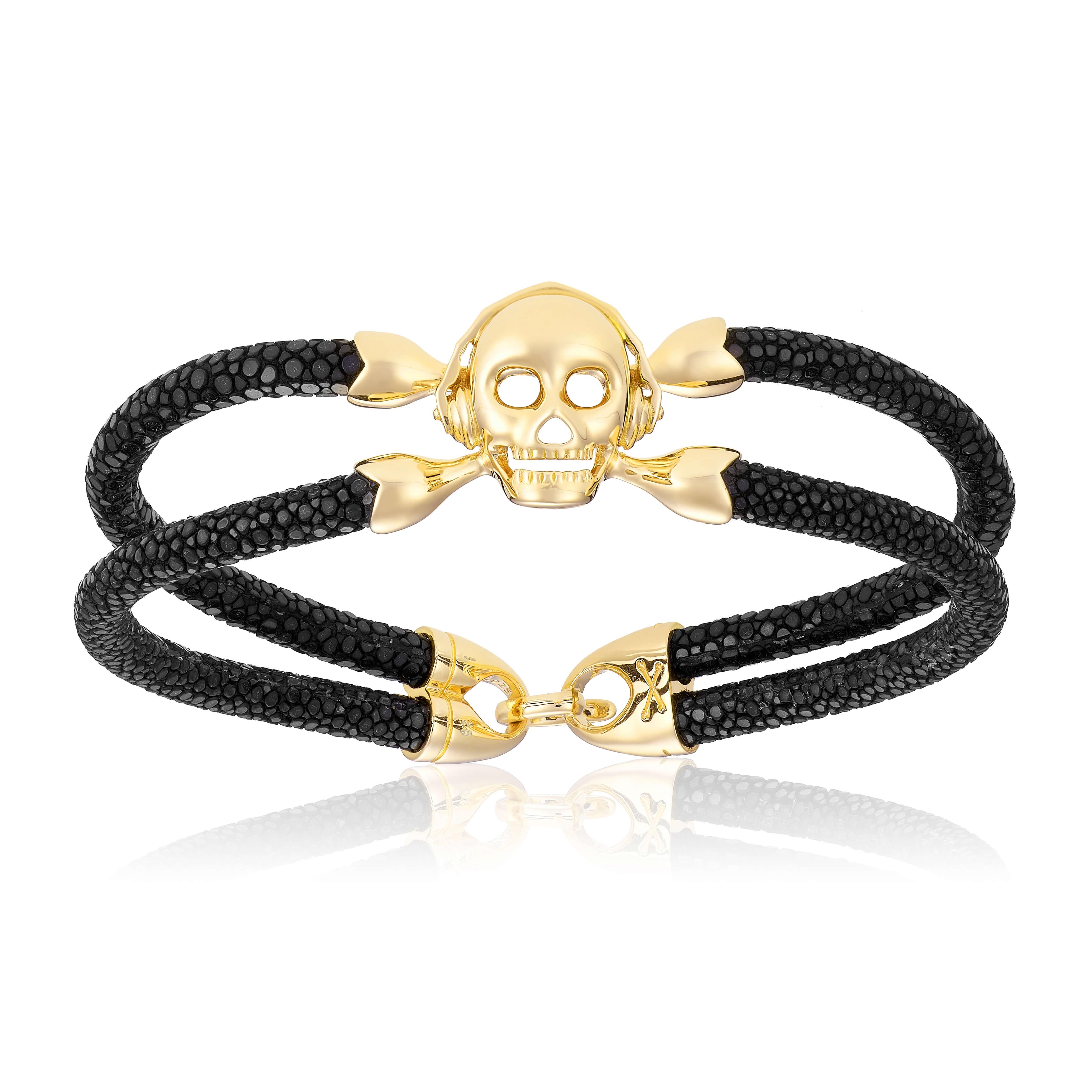 Black stingray bracelet with yellow gold skull (Unisex)