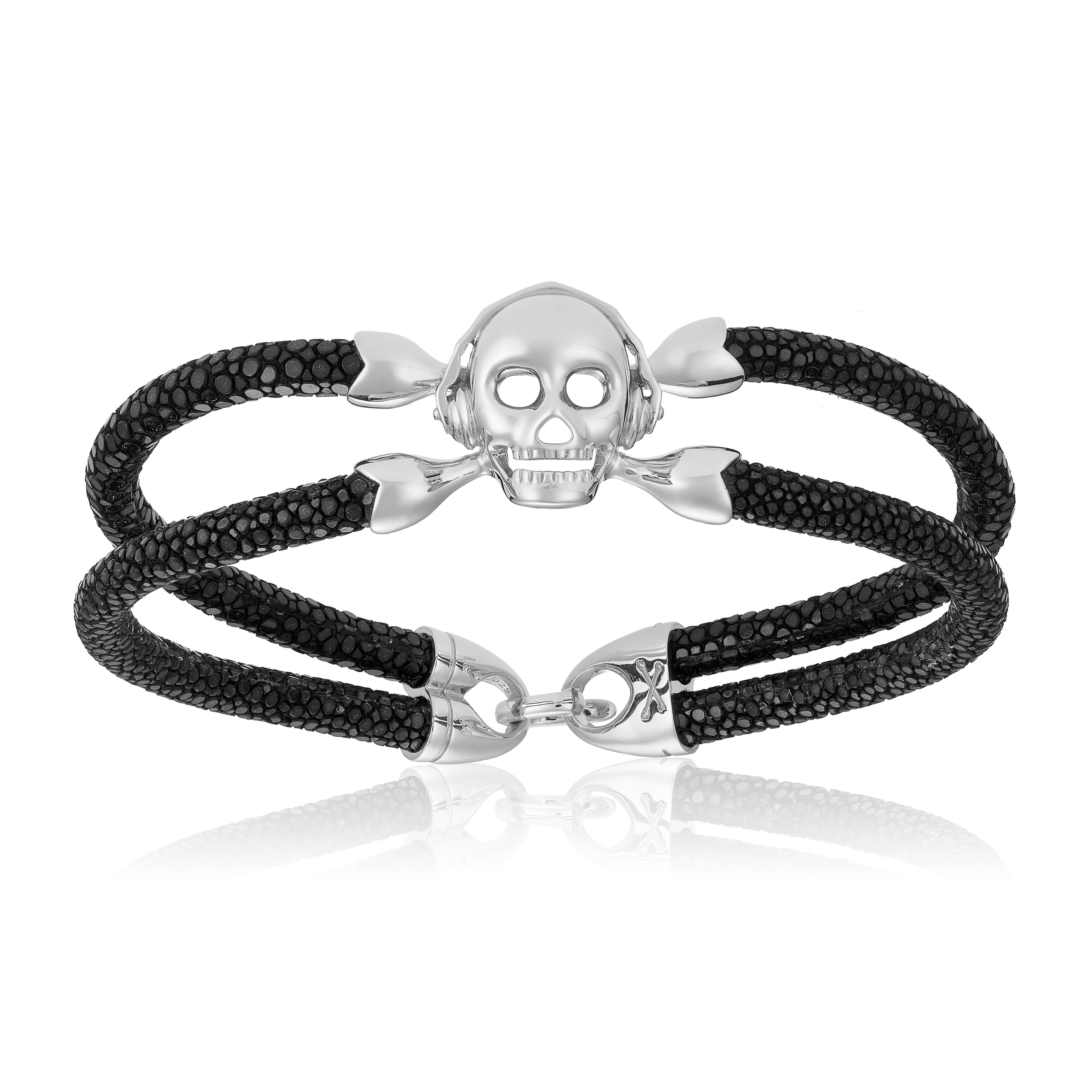 Black stingray bracelet with silver skull (Unisex)