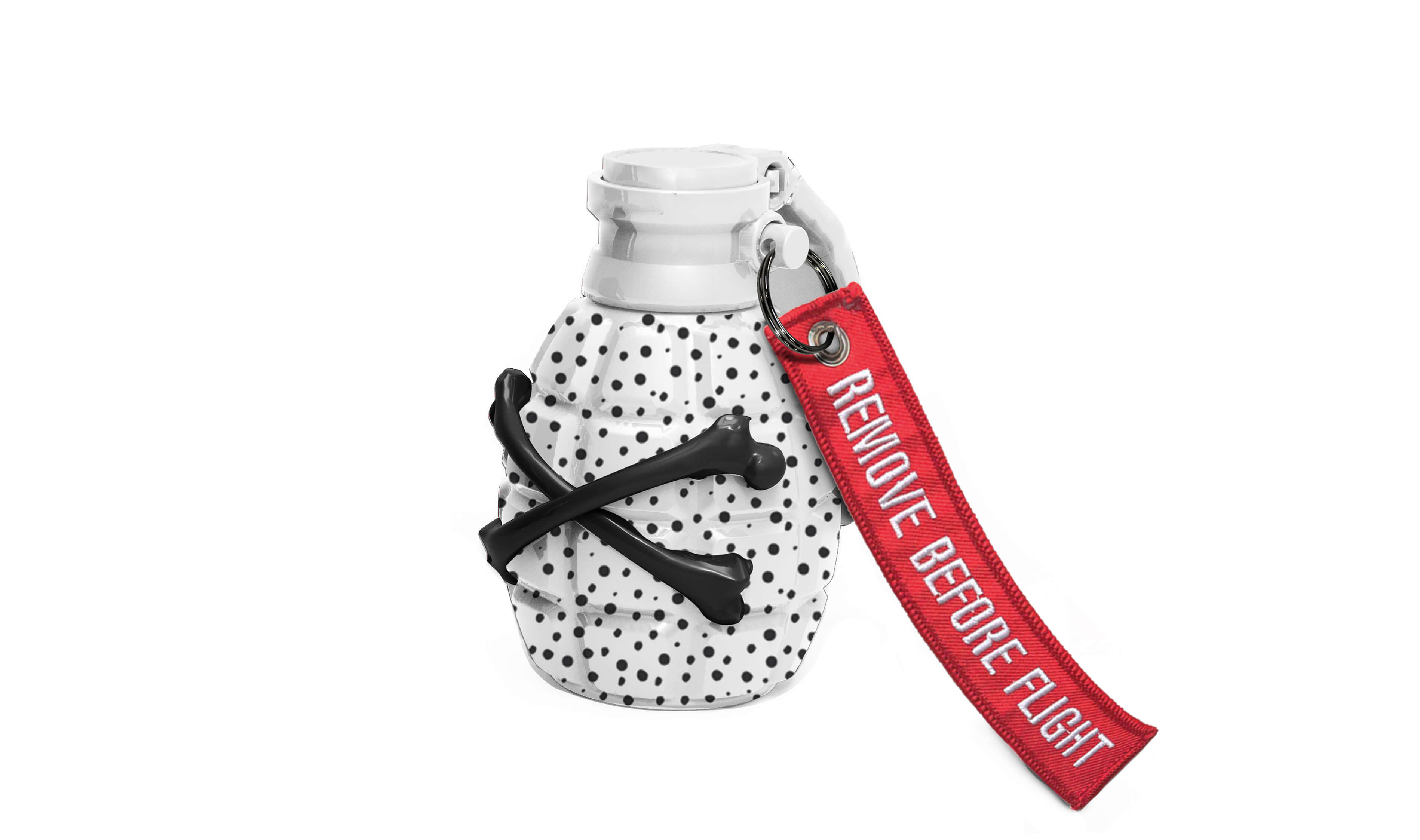 Grenade Sculpture White with Black Dots
