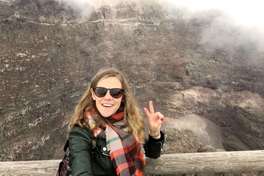 De Vesuvius dampt nabij Napels Italie