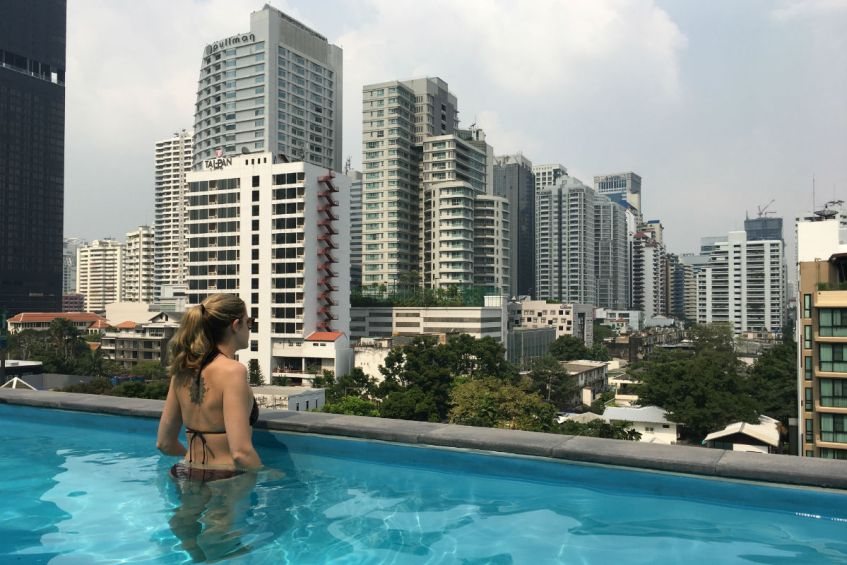 Sukhumvit uitzicht over de wijk in Bangkok