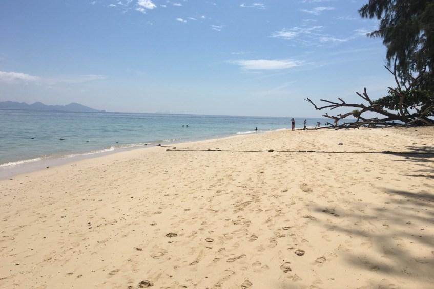 Het witte strand van Koh Kradan tijdens de four island tour op Koh Lanta tips
