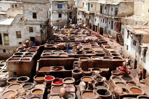 Een van de vele leerlooierijen in Fez