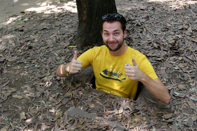 Marcel at the Cu Chi tunnel