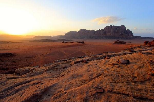 Zonsondergang in Wadi Rum