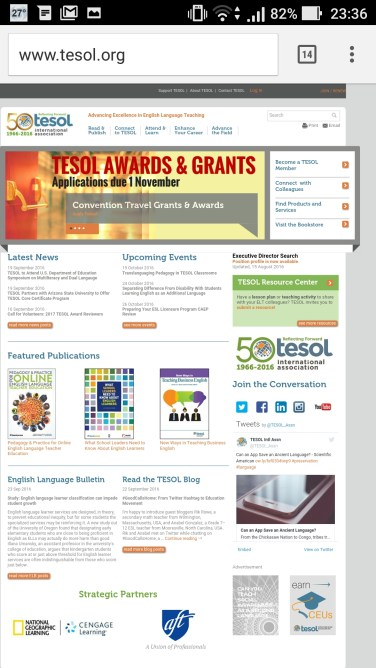 TESOL website in Android