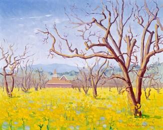 """""""Gomez School House in the Mustard Flowers"""" by Daphne Wynne Nixon"""